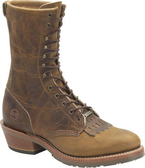 "Mens Double H 10"" Brown Lea Packer Gel Oak Ice Boot MADE IN USA"