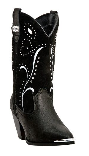 Womens Dingo Studded Suede Boots Black
