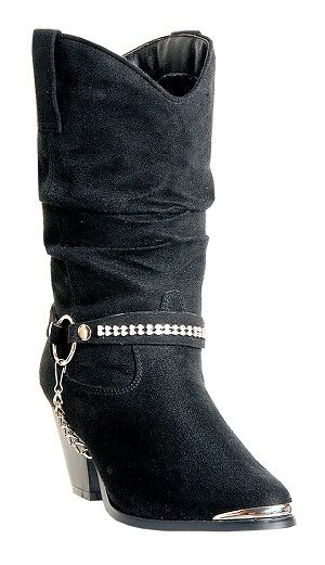 Womens Dingo Boot Black Micro Suede