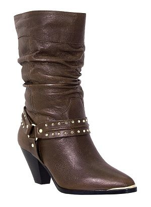 Womens Dingo Slouch Boots w/Studded Boot Straps in Brown