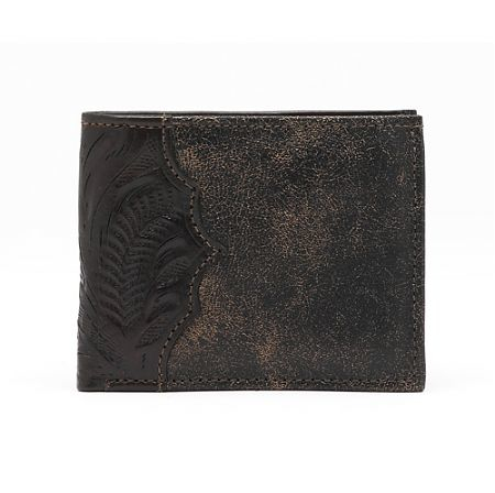 American West Mens Distressed Brown Bi-Fold Leather Wallet