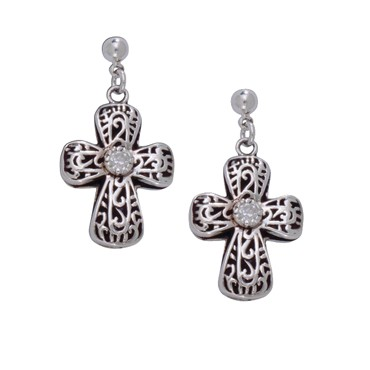Filigree Cross with a Pure Heart Earrings (ER1155)