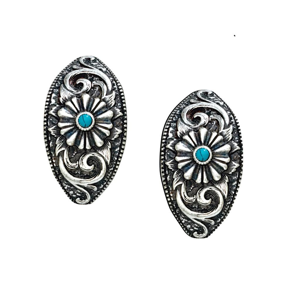 Turquoise Passion Flower Earrings (ER1182)