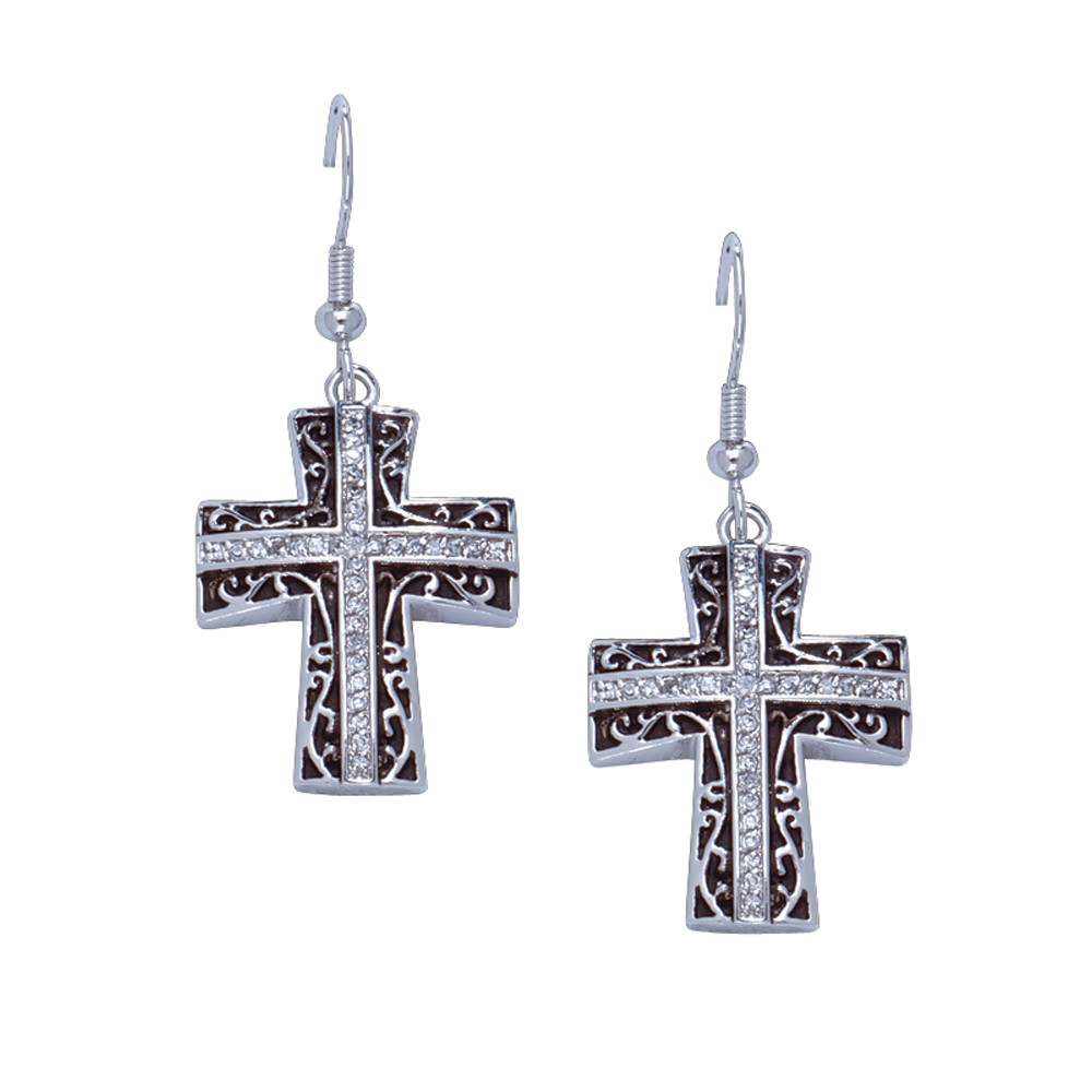Rhinestone Cross Earrings in Antiqued Filigree (ER1185)