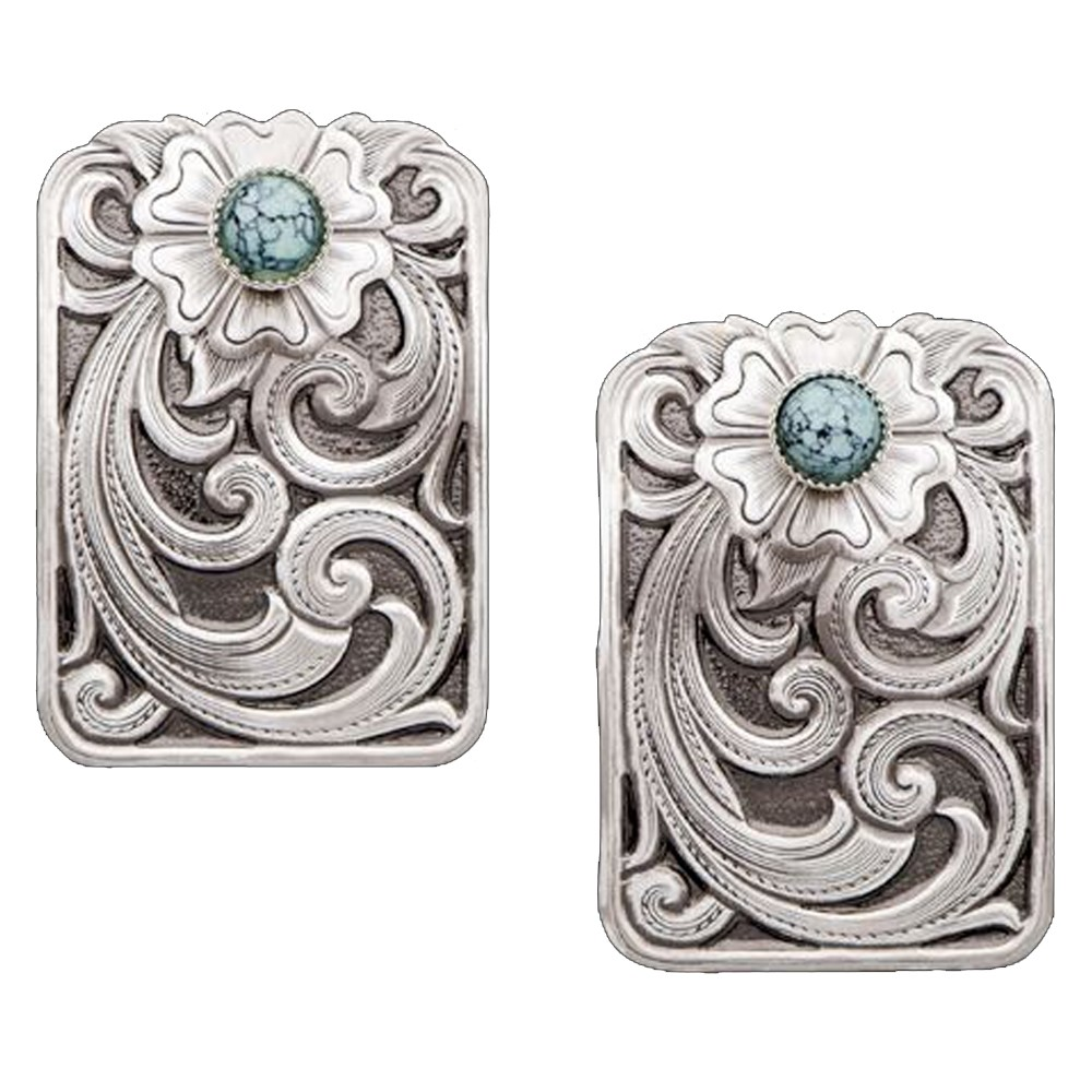 Montana Wildflower in Blue Turquoise Engraved Silver Earrings (ER1264)