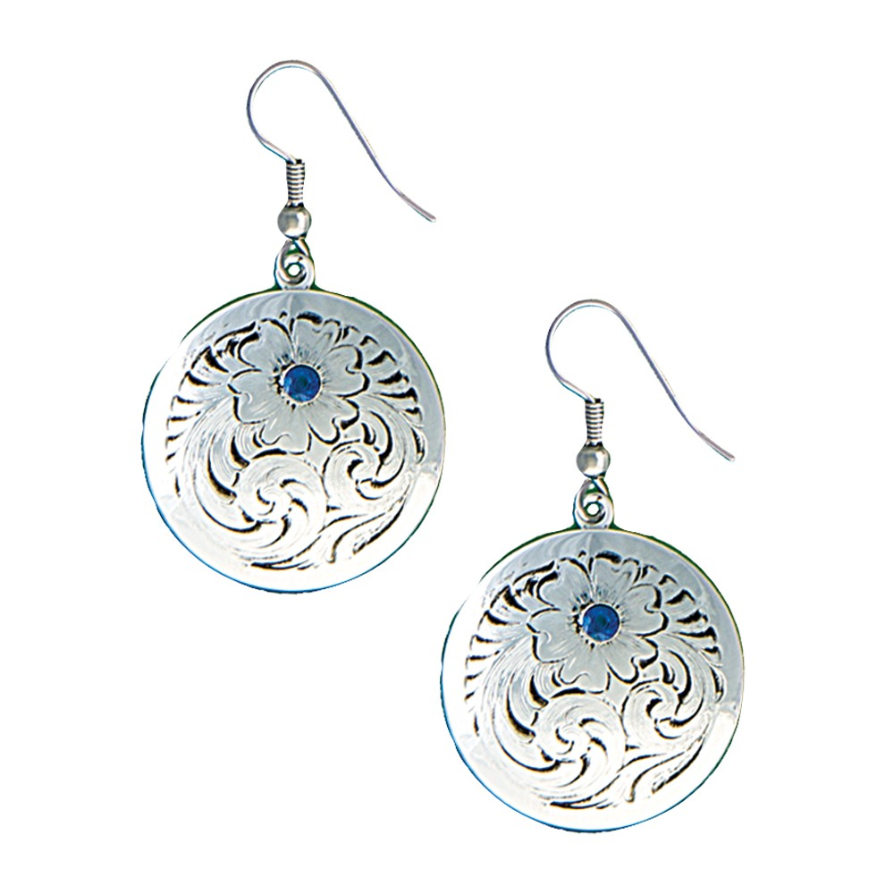 True Blue Classic Montana Silver Engraved Concho Earrings (ER1269TB)