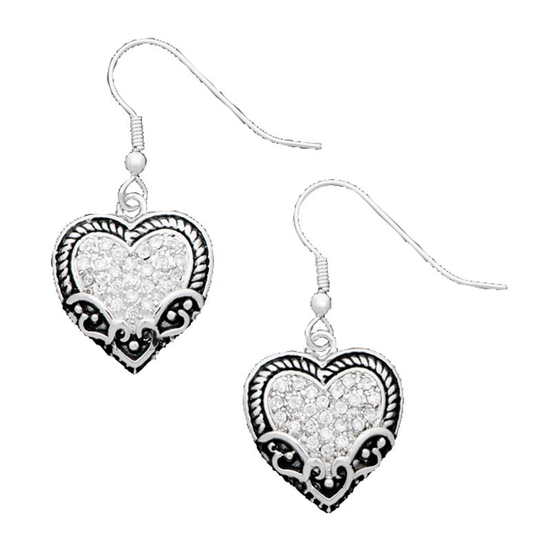 Vintage Charm Our Prairie Mothers Heart Earrings (ER1319CZ)