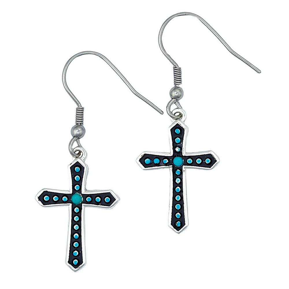 Turquoise Dotted Silver Cross Earrings (ER1340)