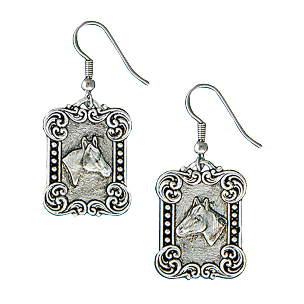 Western Deco Rider's Cameo Dangle Earrings (ER1428RTS)