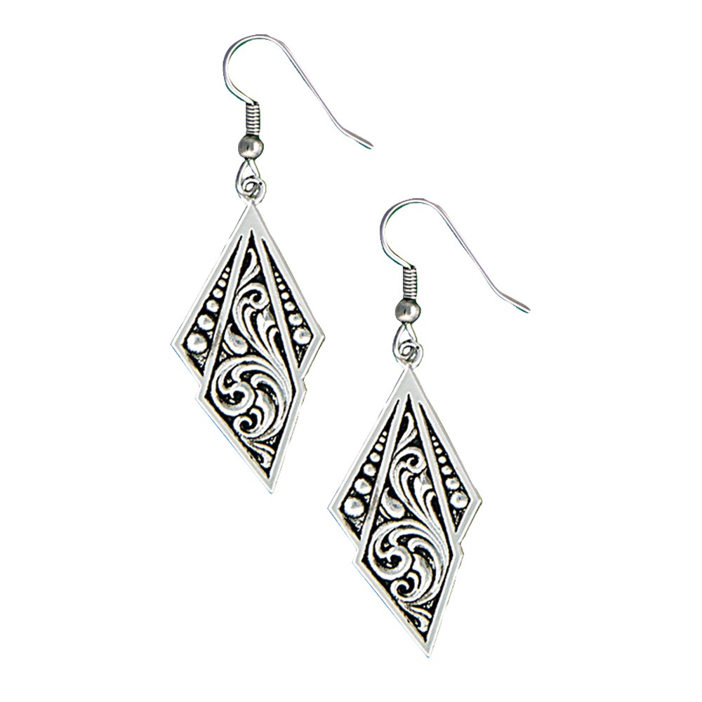 Western Deco Silver Jewel Dangle Earrings (ER1433BK)