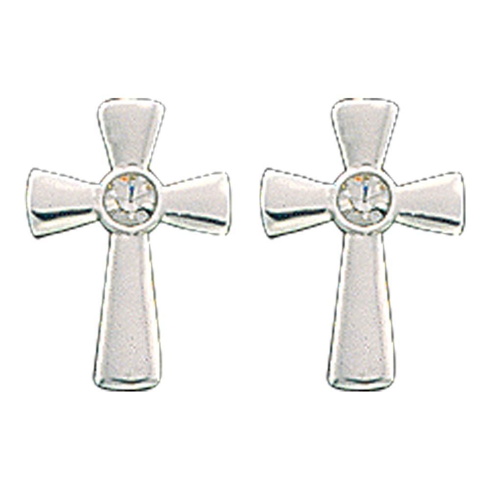 Tiny Silver Cross Post Earrings (ER61129)