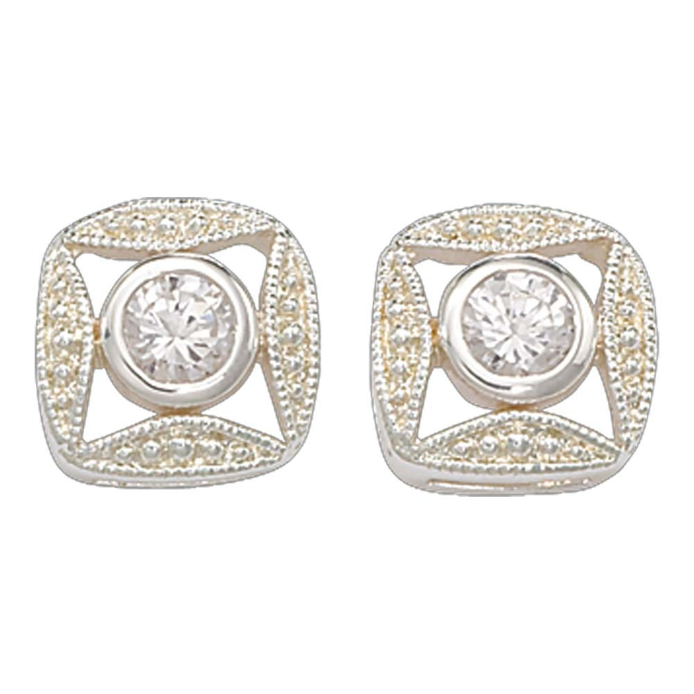 Bezel Set Square Crystal Earrings (ER61503CZ)