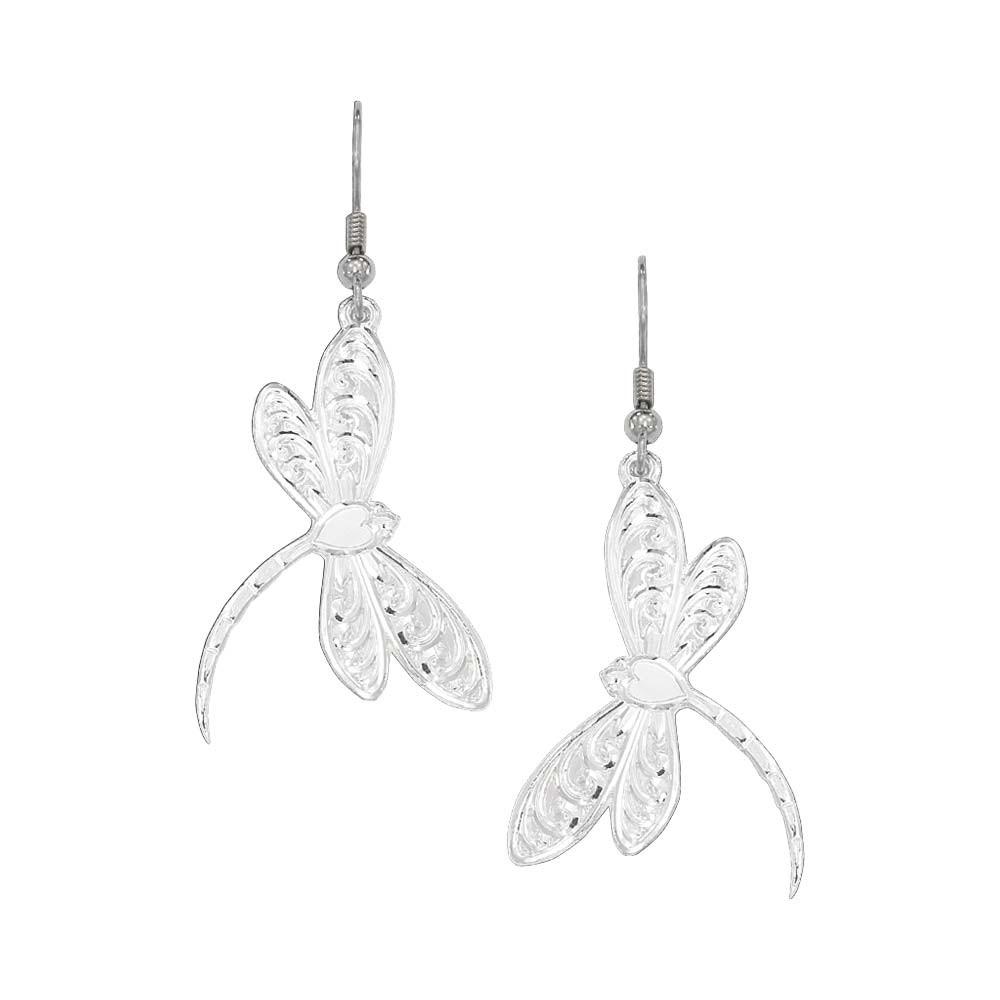 Silver Filigree Dragonfly Drop Earrings (ER61645)