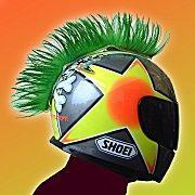 Green Motorcyle Helmet Mohawk