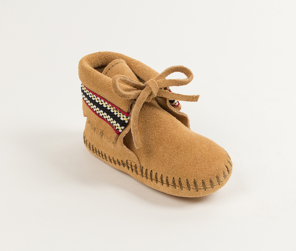 Infant Tan Suede Braid on Cuff Bootie