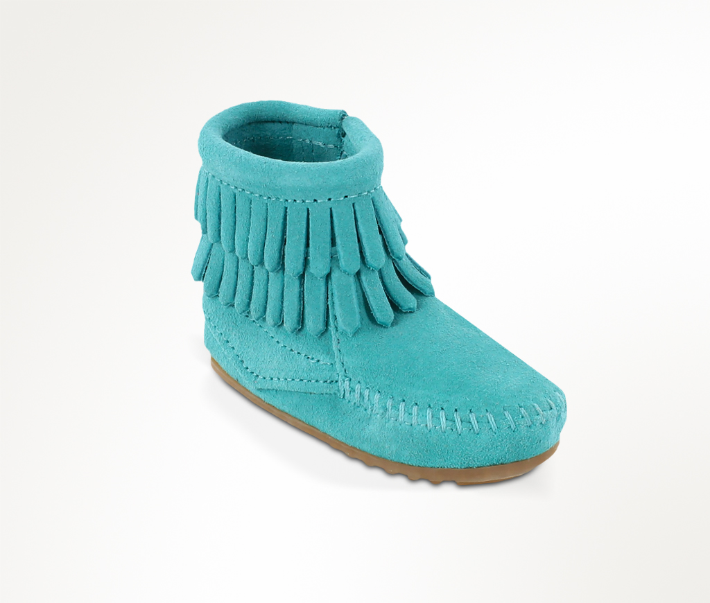 Infant Double Fringe Side Zip Bootie Turquoise Suede