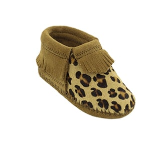 Infant Riley Leopard Taupe Suede Bootie