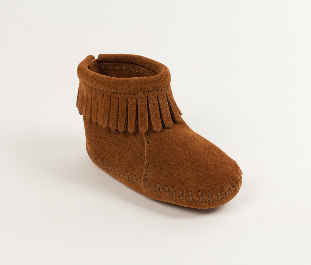 Infant Velcro Back Flap Bootie Brown