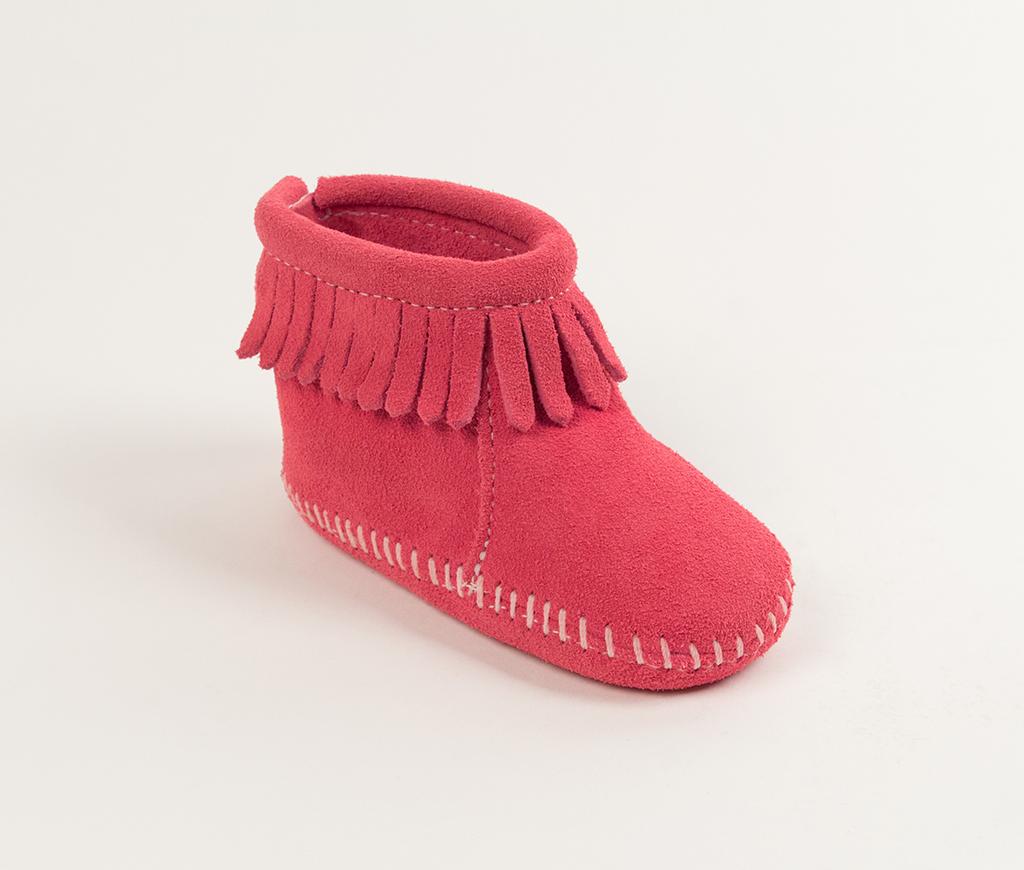 Infant Velcro Back Flap Bootie Pink