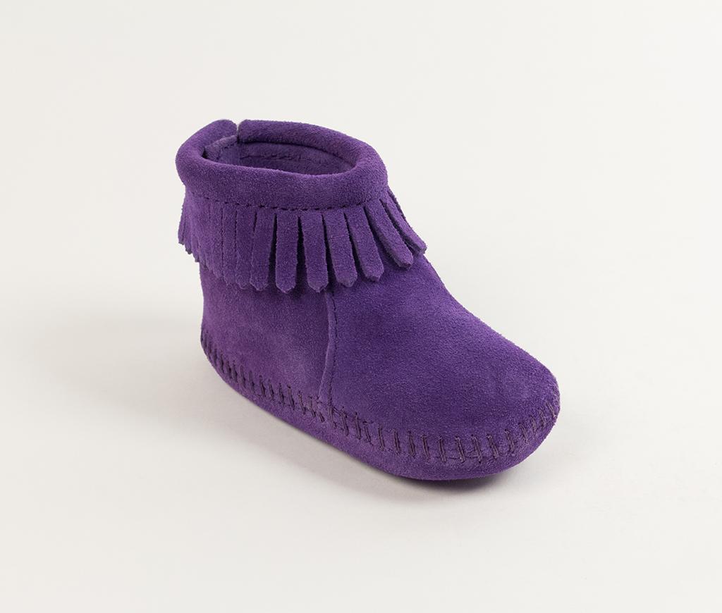 Infant Velcro Back Flap Bootie Purple Suede