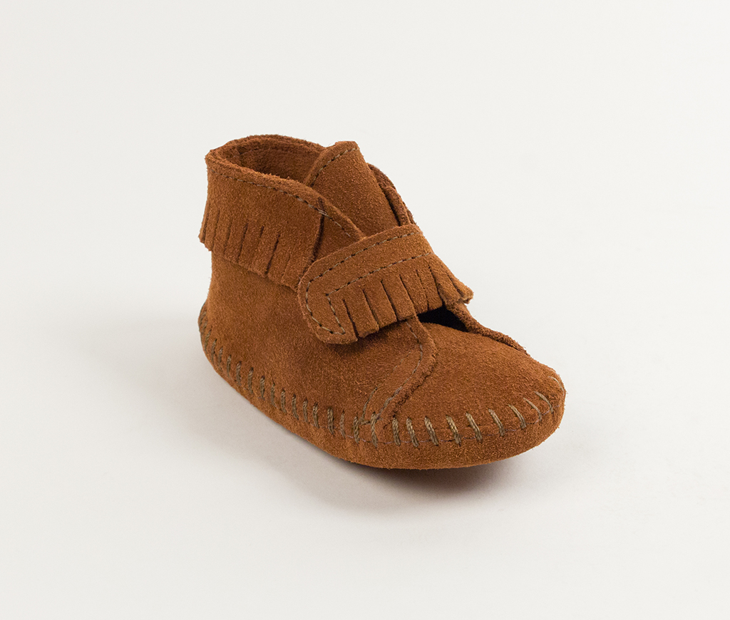 Infant Brown Suede Front Strap Bootie