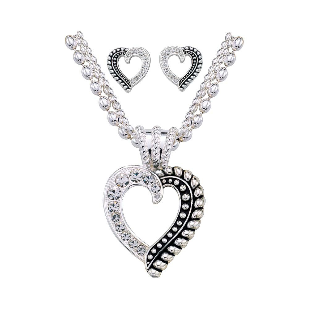 Twisted Rope and Crystals Heart Jewelry Set (JS1041)