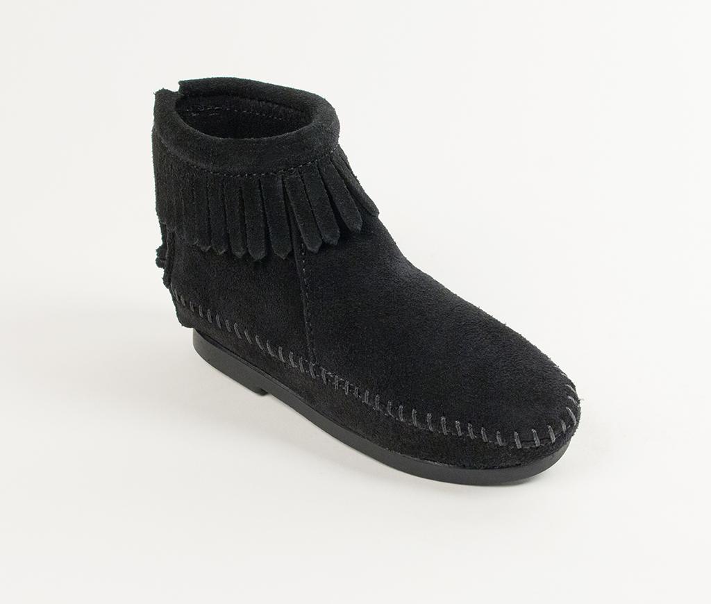 Children's Back Zipper Boot Black