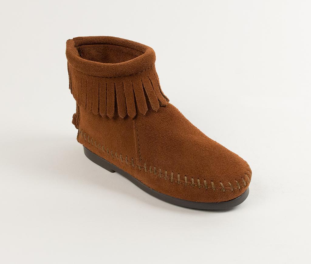 Children's Minnetonka Back Zipper Boot Brown