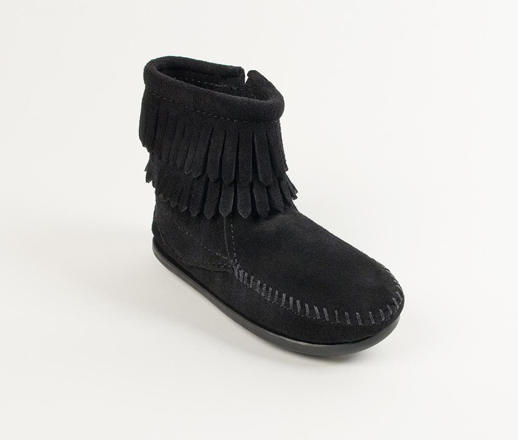Children's Minnetonka Double Fringe Side Zip Boot Black Suede