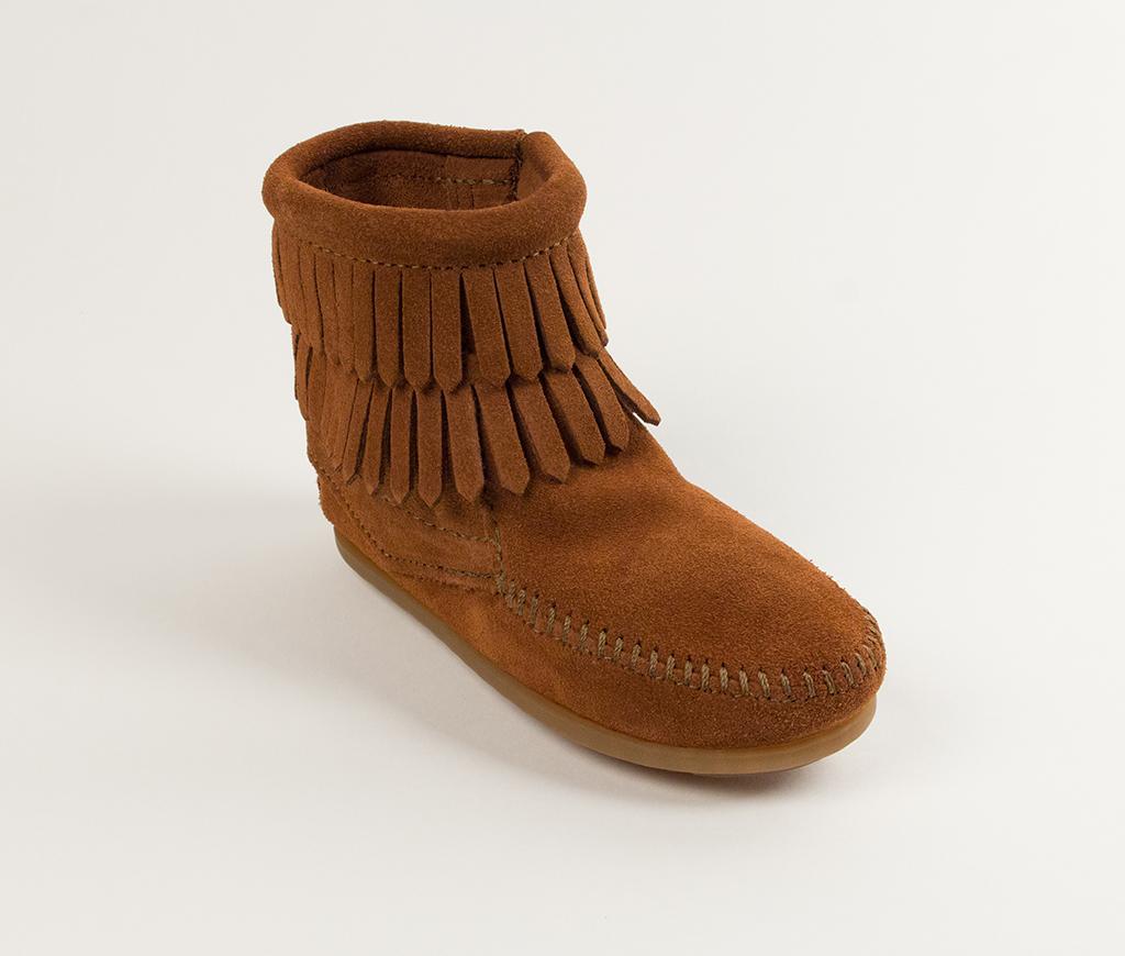 Children's Minnetonka Double Fringe Side Zip Boot Brown Suede