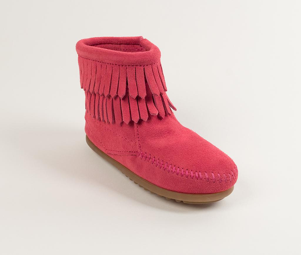 Children's Minnetonka Double Fringe Side Zip Boot Hot Pink Suede