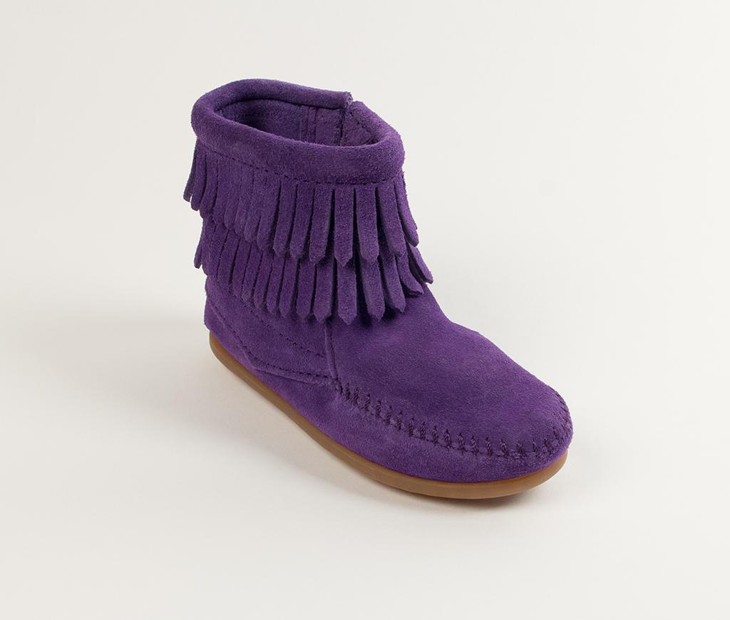 Children's Minnetonka Double Fringe Side Zip Boot Purple Suede
