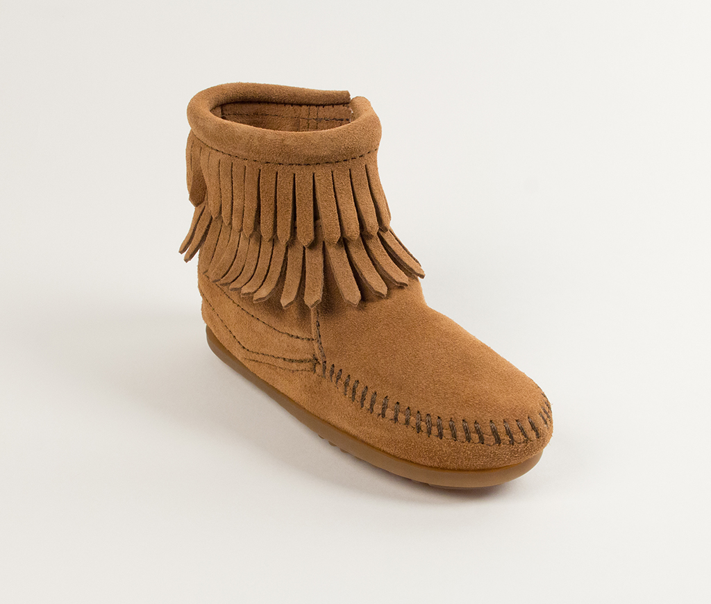 Children's Minnetonka Double Fringe Side Zip Boot Taupe Suede