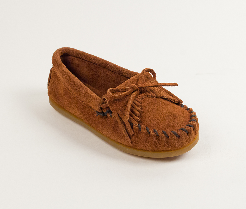 Child's Brown Suede Kilty Moccasin