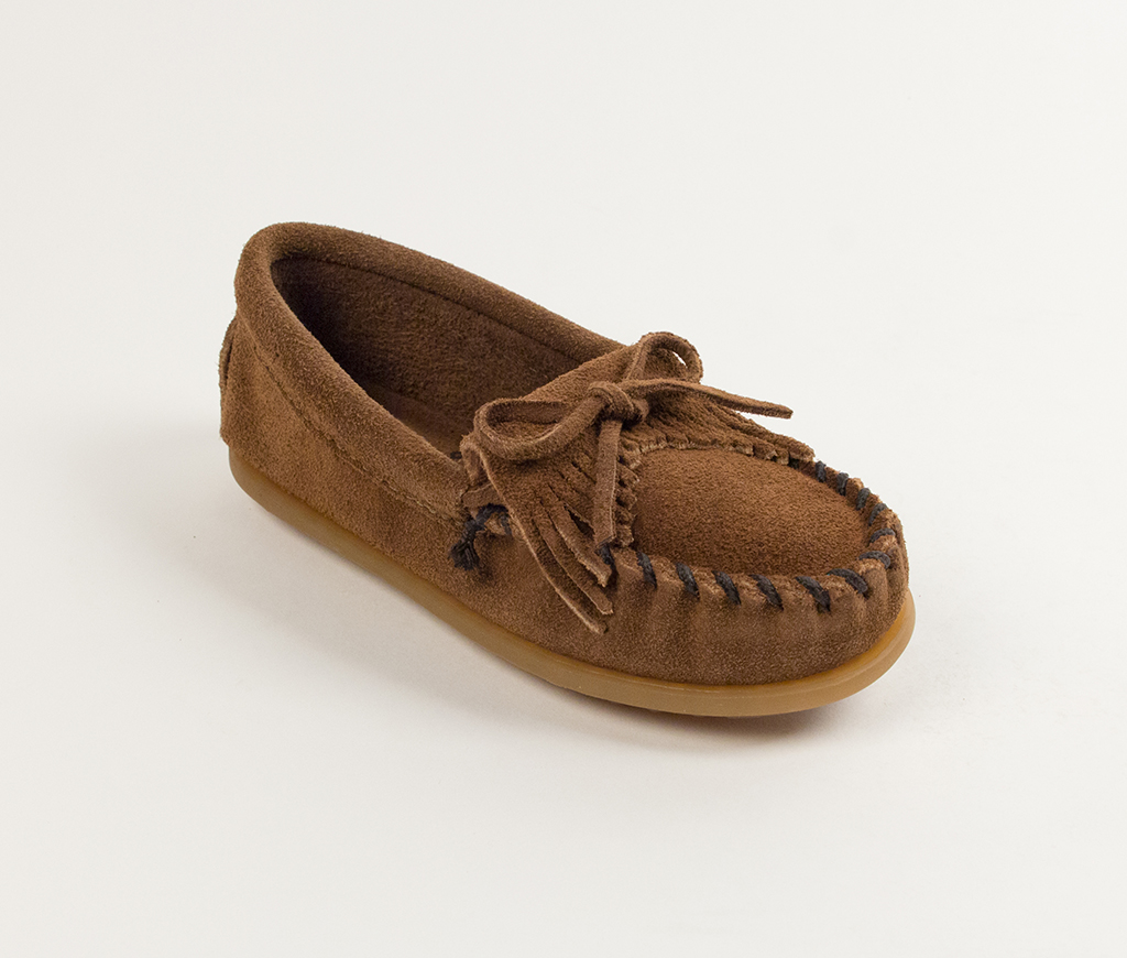 Child's Dusty Brown Suede Kilty Moccasin
