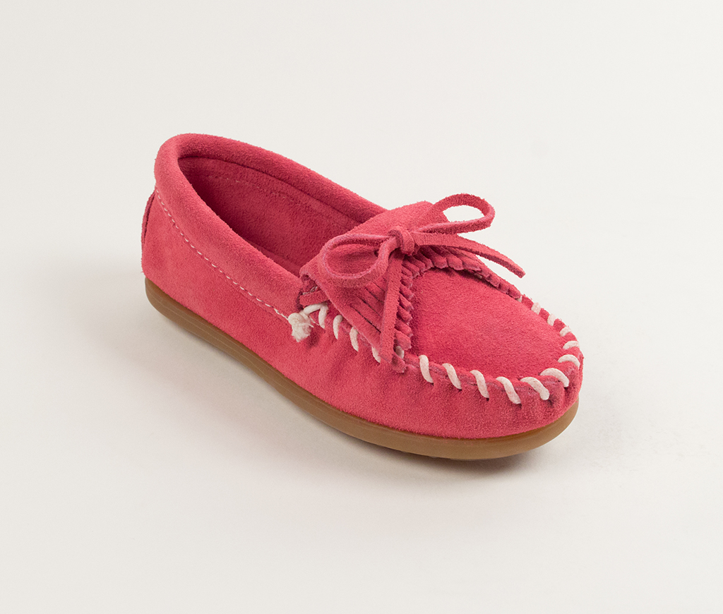 Child's Hot Pink Suede Kilty Moccasin