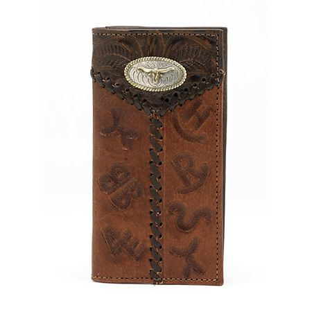 American West Mens Chocolate/Antique Brown Leather Rodeo Wallet