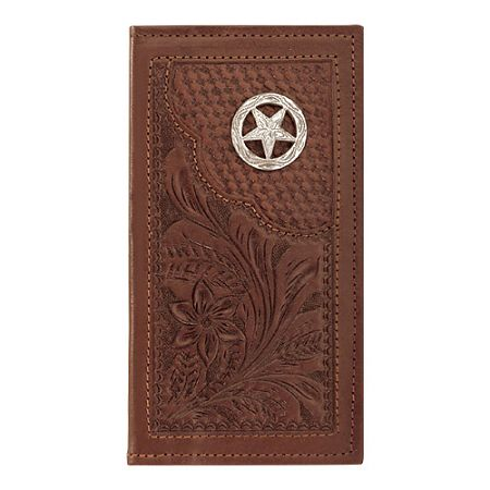 American West Mahogany Leather Mens Rodeo Wallet