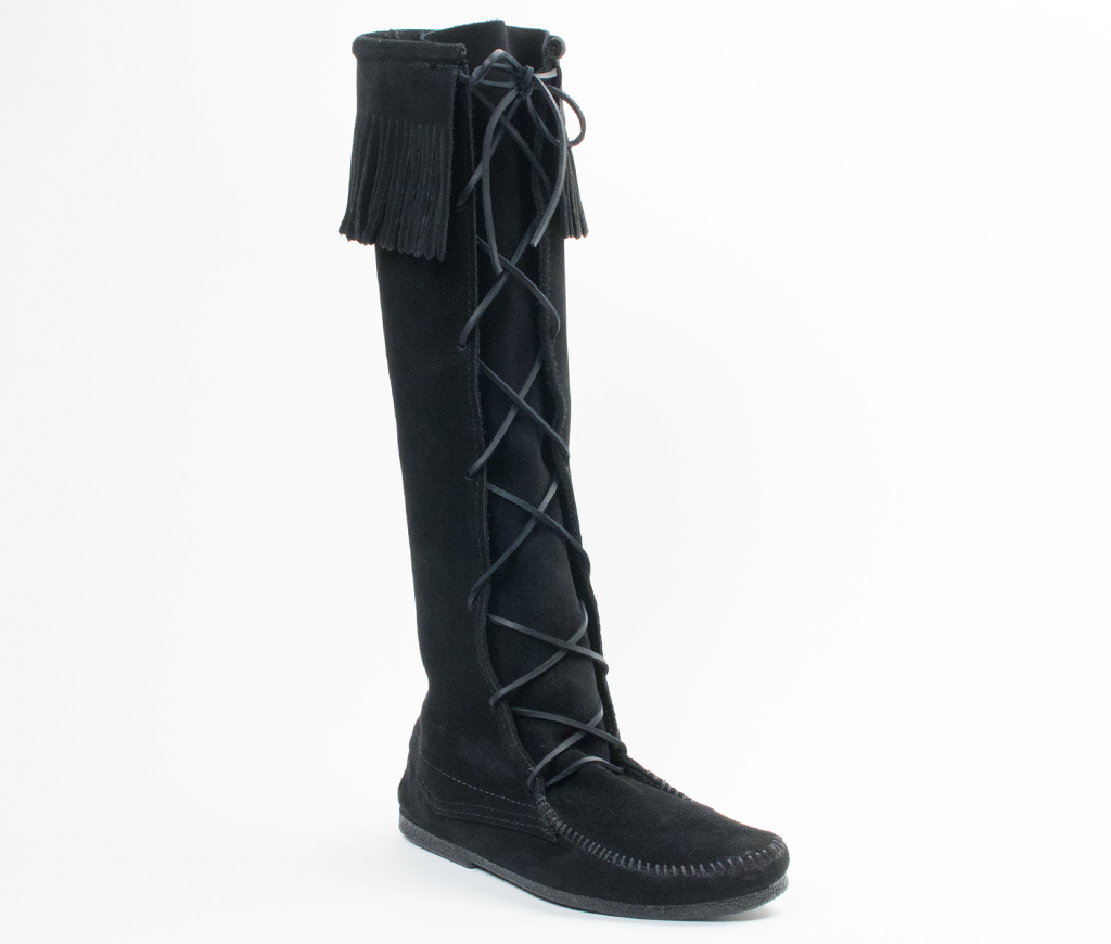 Men's Black Suede Knee Hi Front Lace Hardsole Fringe Boot
