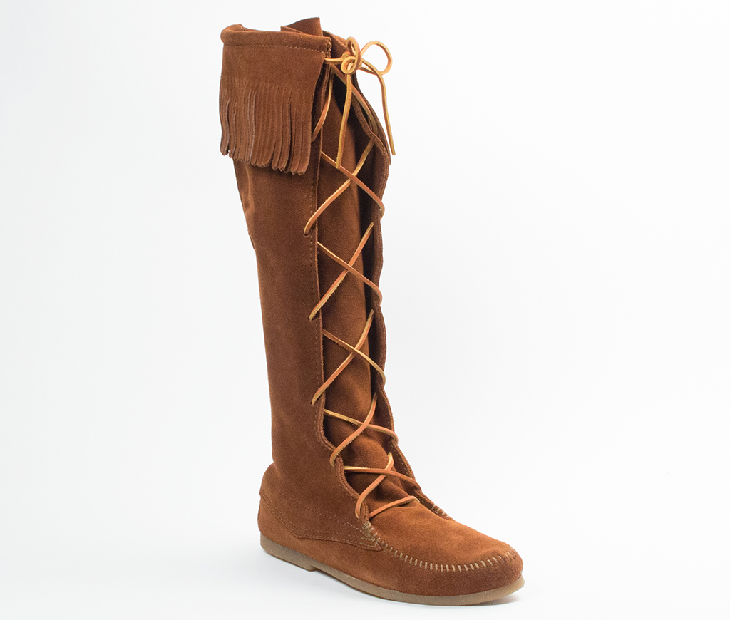 Men's Brown Suede Knee Hi Front Lace Hardsole Fringe Boot