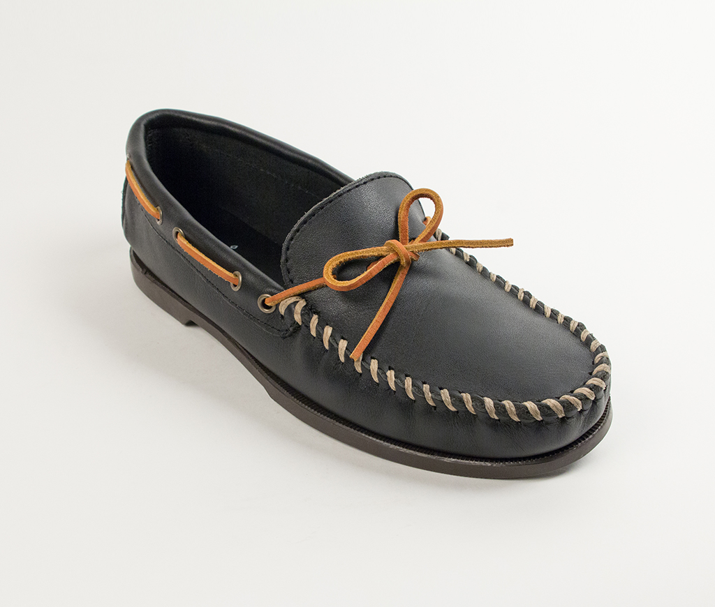 Men's Black Leather Classic Camp Moccasin
