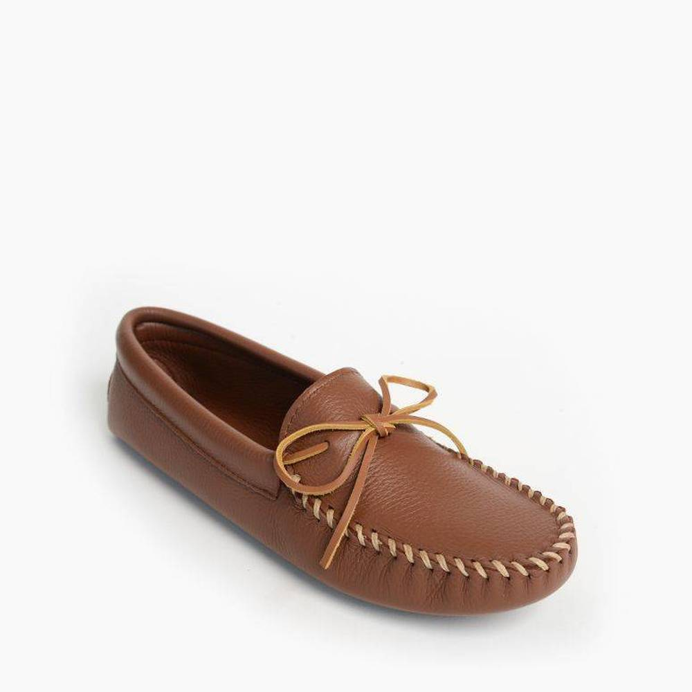 Mens Carmel Double Deerskin Softsole