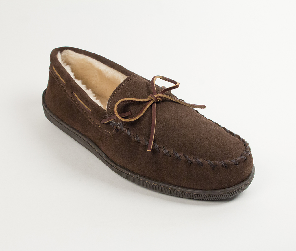 Mens Pile Lined Hardsole Chocolate Suede