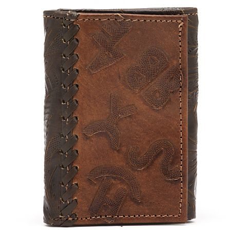 American West Mens Chocolate/Antique Brown Tri-Fold Leather Wallet