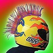 Multicolored Motorcycle Helmet Mohawk