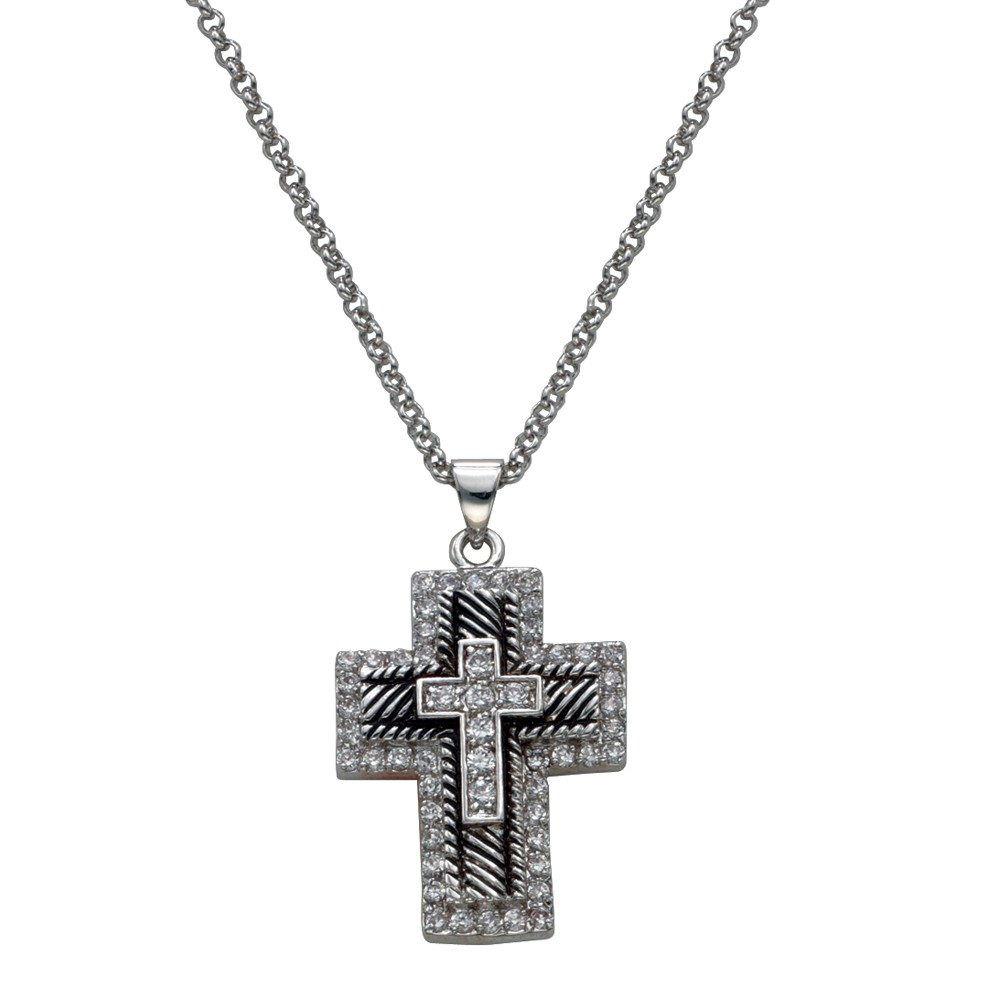 Layered Cross of Crystal and Antiqued Silver (NC1236)