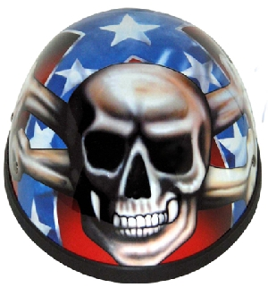Rebel Flag Skull Novelty Helmet
