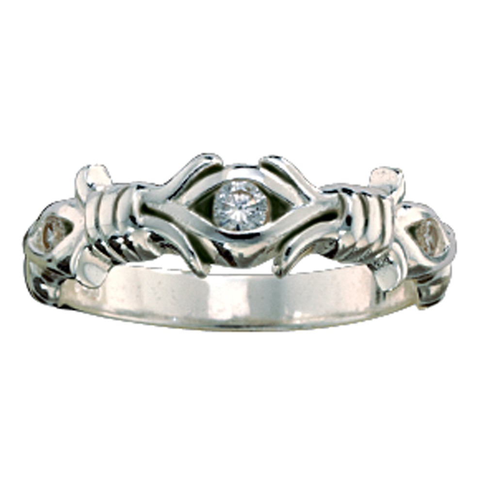 Barbed Wire Solitaire Ring (RG28CZ)
