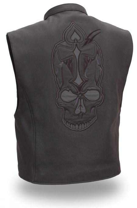 Mens Skull and Spade Reflective Leather Vest