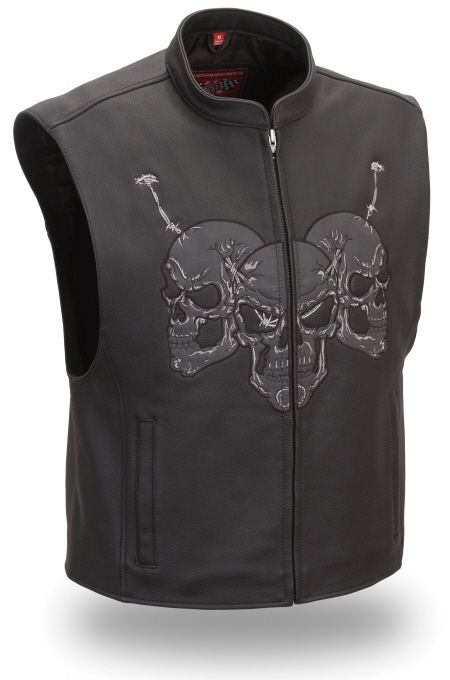 Mens Reflective Leather Skull Vest